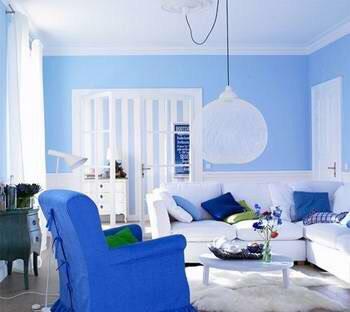 客厅浅蓝色的效果图,是不是