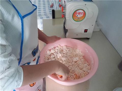开始和面~没有加水的哦~胡萝卜泥和面粉的比例是230g:500g~