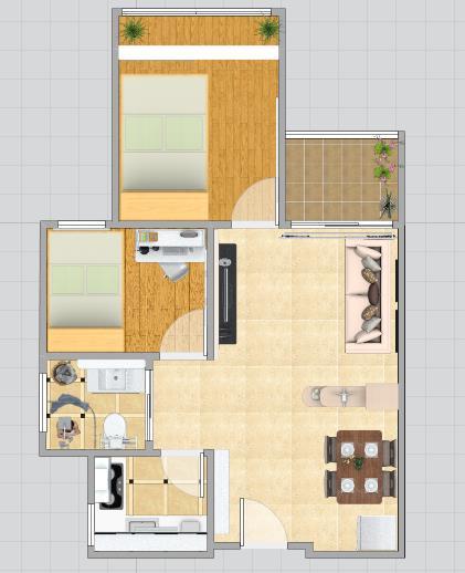 """""""家在""""学员交作业了,龙瑞佳园主力户型-----两房一厅"""