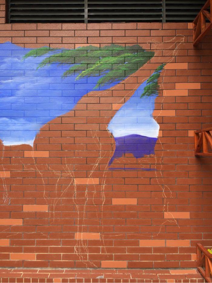 看小师来校园画大幅手工手绘长颈鹿3d立体画