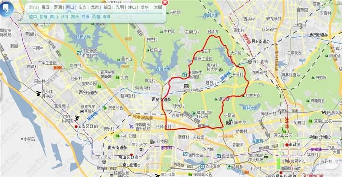南山区和旗下各街道的行政区划图片