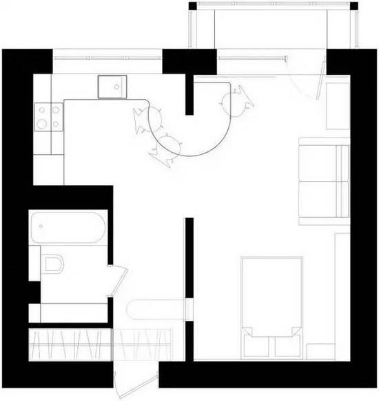 平面布置图,卧室,客厅,餐厅,厨房,都没有分隔开,是一个开放式的空间!