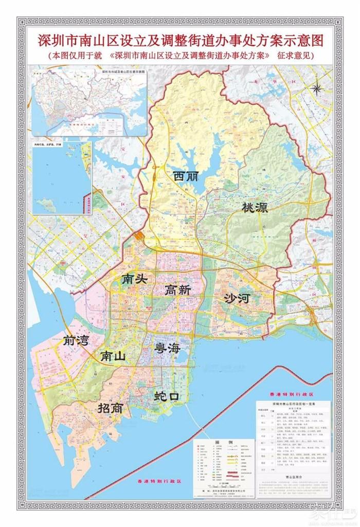南山区街道划分示意图(最新)图片