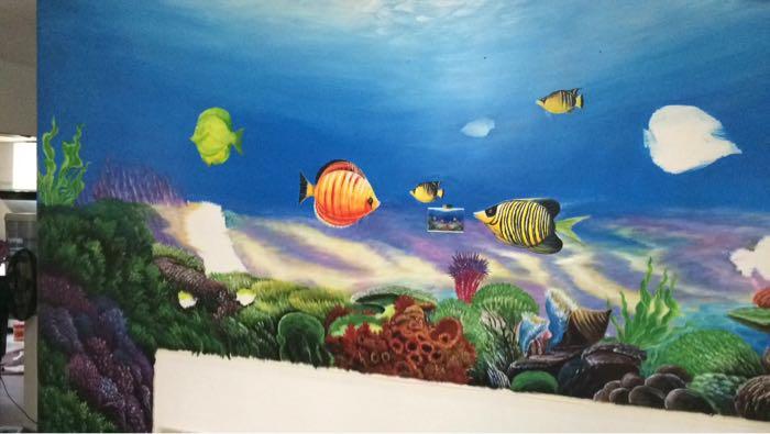 手工手绘:大幅海底世界手绘画 想夏日清凉的进