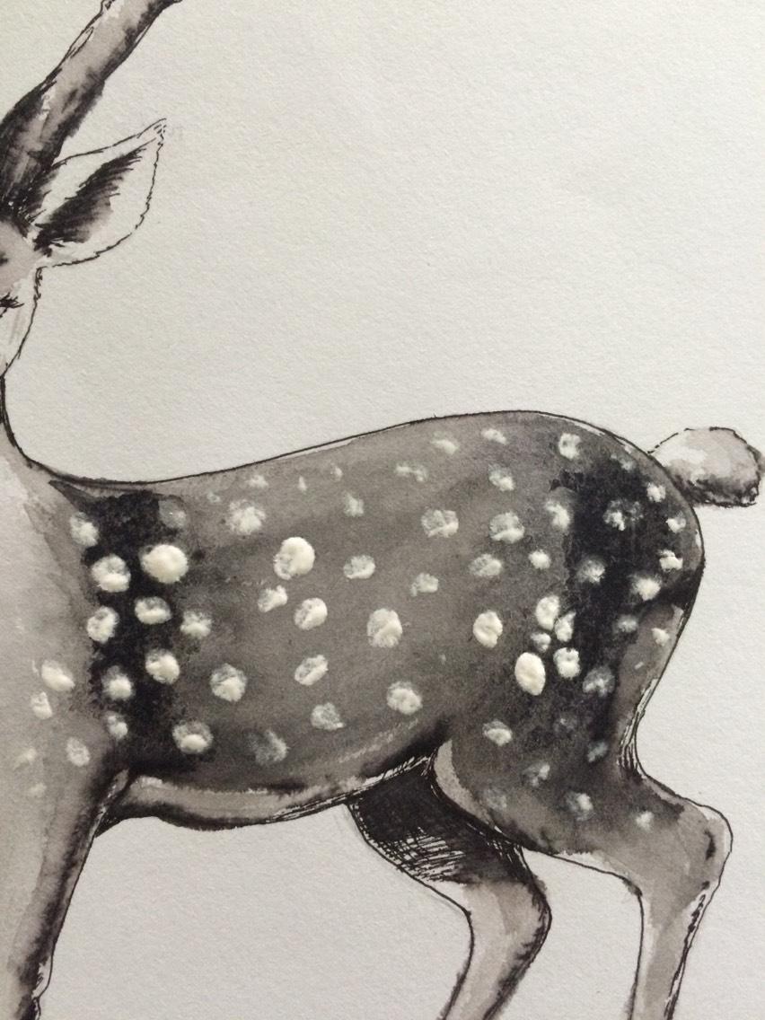 手工手绘直播:黑白圆珠笔 水彩梅花鹿