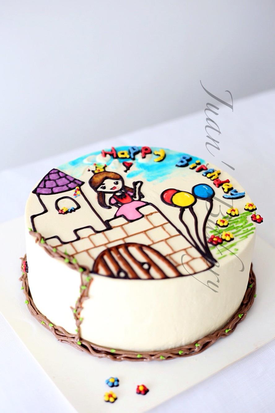 手绘蛋糕------我是城堡中的小公主