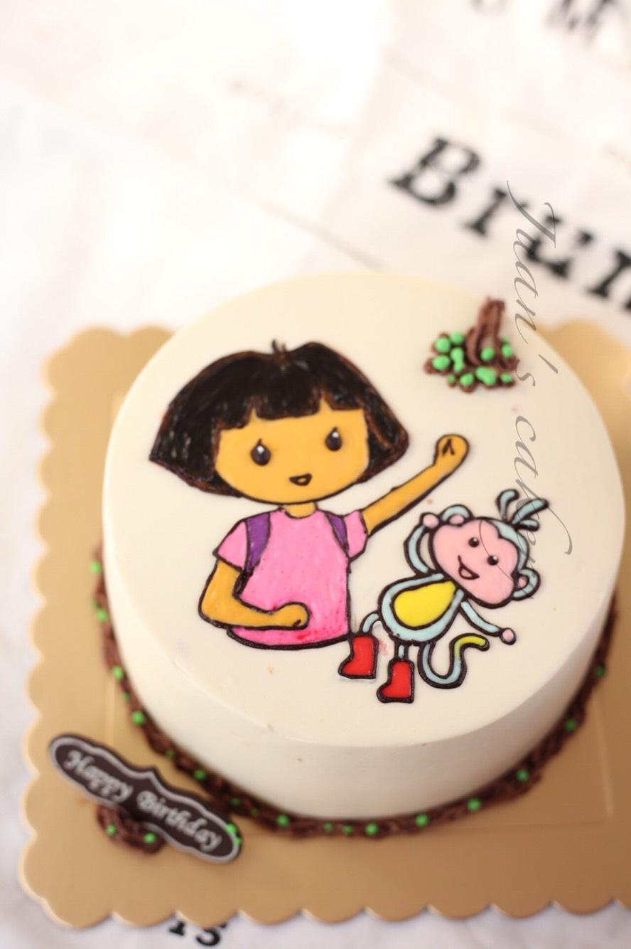 手绘蛋糕------朵拉和布兹