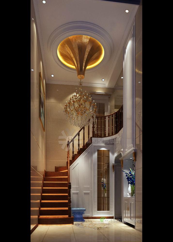 00 紫云庭c座03复式一楼欧式装修效果图--入户玄关 楼梯间 中空过厅