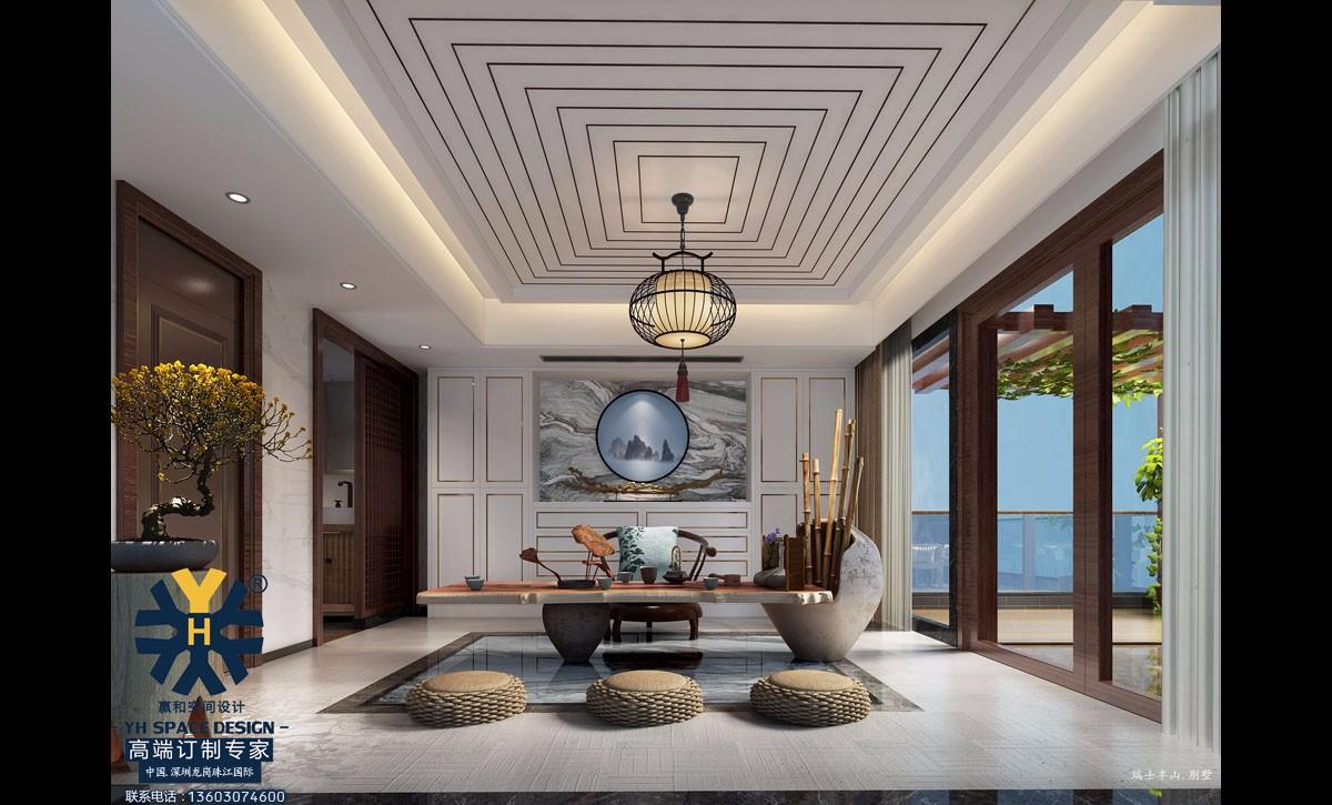 【瑞士半山别墅装修设计案例】1区联排中间 现代新中式美学豪宅设计